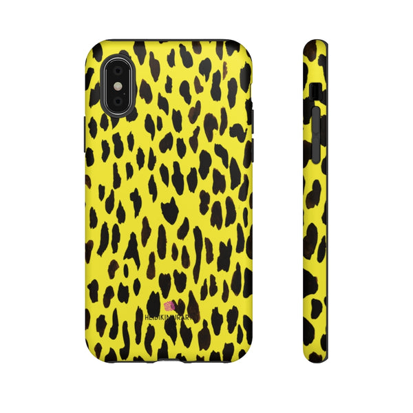 Yellow Leopard Designer Tough Cases, Animal Print Best Case Mate iPhone Samsung Case-Made in USA