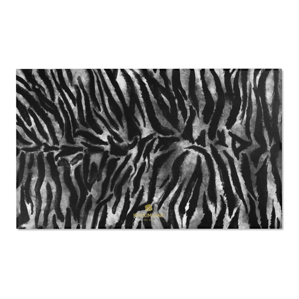 "White Black Tiger Stripe Animal Print 24x36, 36x60, 48x72 inches Area Rugs- Printed in USA-Area Rug-60"" x 36""-Heidi Kimura Art LLC"