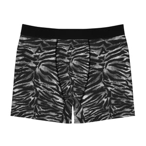 Gray Tiger Striped Men's Boxers, Animal Print Sexy Hot Men's Boxer Briefs Underwear-Men's Underwear-L-Black Seams-Heidi Kimura Art LLC