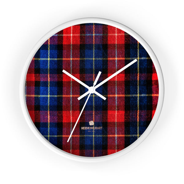 Classic Red Plaid Pattern London Calling Modern 10 in. Diameter Wall Clock-Made in USA-Wall Clock-10 in-White-White-Heidi Kimura Art LLC