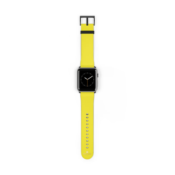 Yellow Solid Color 38mm/42mm Watch Band Strap For Apple Watches- Made in USA-Watch Band-42 mm-Black Matte-Heidi Kimura Art LLC