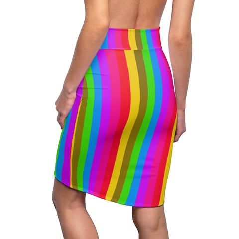 Colourful Rainbow Women's Pencil Skirt, Bright Cute Gay Pride Skirt Designer Women's Office Pencil Skirt, Best Gay Pride Skirt For Gay Pride Parades and Festivials - Made in USA (US Size: XS-2XL)