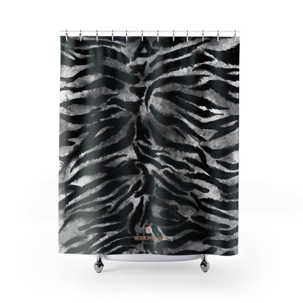 Gray Black Bengal Tiger Stripe Animal Print Polyester Large 71x74 inches Shower Curtain-Shower Curtain-71x74-Heidi Kimura Art LLC Gray Tiger Striped Shower Curtains, Gray Black Bengal Tiger Stripe Animal Print Designer Polyester Large 71x74 inches Shower Curtains- Printed in USA