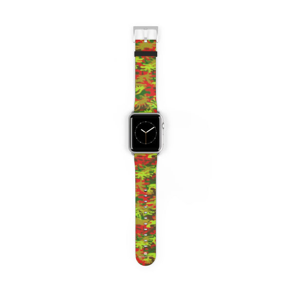 Red Green Red Camo Print 38mm/42mm Watch Band For Apple Watches- Made in USA-Watch Band-42 mm-Silver Matte-Heidi Kimura Art LLC