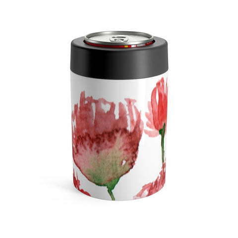 Red Poppy Flower Floral Print Cute Can Holder-Mug-12oz-Heidi Kimura Art LLC Red Poppy Floral 12 oz Can Holder, Flower Floral Print Cute Stainless Steel Bottle -Printed in USA, Red Poppy Flower Floral Print Cute Can Holder