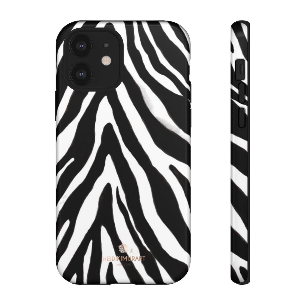 Zebra Stripe Phone Case, Animal Print Tough Designer Phone Case -Made in USA-Phone Case-Printify-iPhone 12-Glossy-Heidi Kimura Art LLC