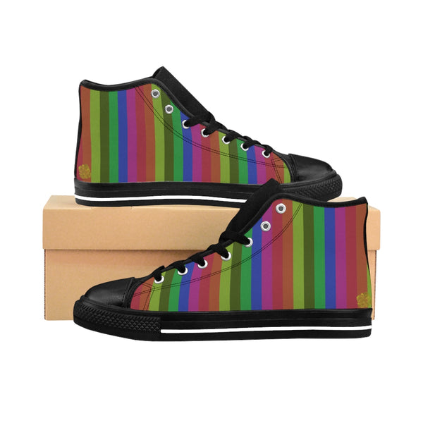Doi Rainbow Print Stripe Gay Pride Men's Nylon Canvas High-top Sneakers Shoes (US Size: 6-14)
