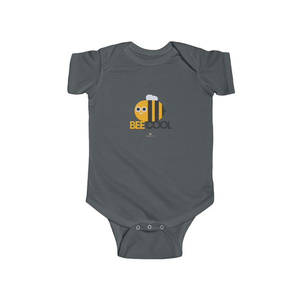 Bee Cotton Kids Bodysuit, Cool Infant Fine Jersey Regular Fit Unisex Clothes - Made in UK-Infant Short Sleeve Bodysuit-Charcoal-NB-Heidi Kimura Art LLC