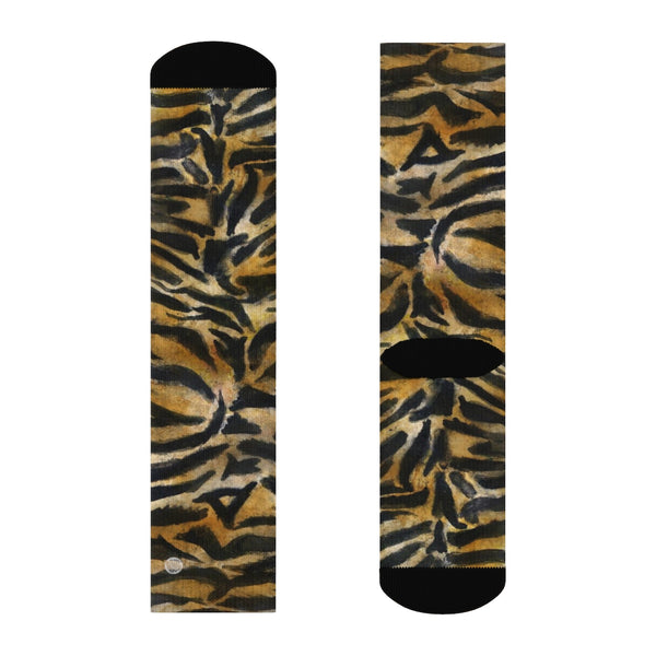 Tiger Stripe Print Unisex Socks, Orange Tiger Animal Print Women's/ Men's Luxury Socks-Socks-Heidi Kimura Art LLC