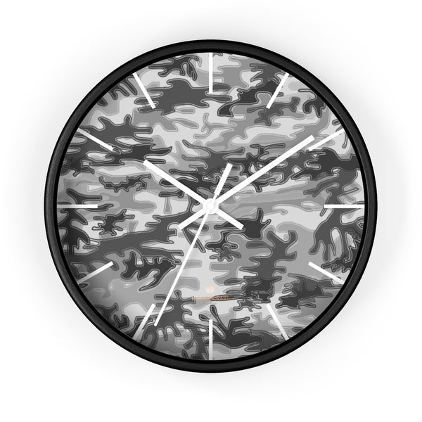 Gray Camo Camoflage Military Print Large Unique Indoor Wall Clocks- Made in USA-Home Decor-10 in-Black-White-Heidi Kimura Art LLC