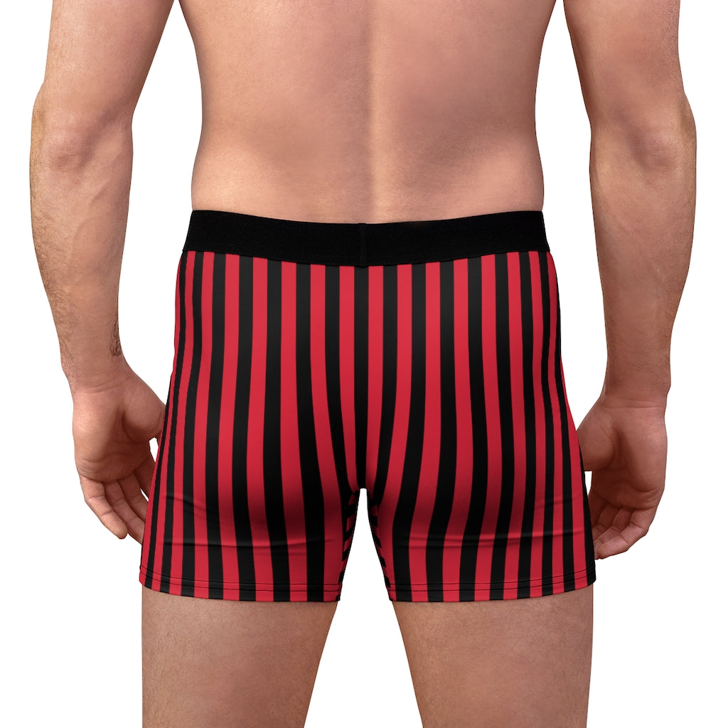 Red Black Striped Men's Underwear, Modern Stripes Athletic  Modern Fetish Print Designer Fashion Underwear For Sexy Gay Men, Men's Gay Fetish Party Erotic Boxer Briefs Elastic Underwear (US Size: XS-3XL)