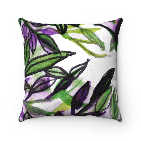Green Tropical Leaves Print Luxury Faux Suede Square Pillow - Made in USA-Pillow-14x14-Heidi Kimura Art LLC