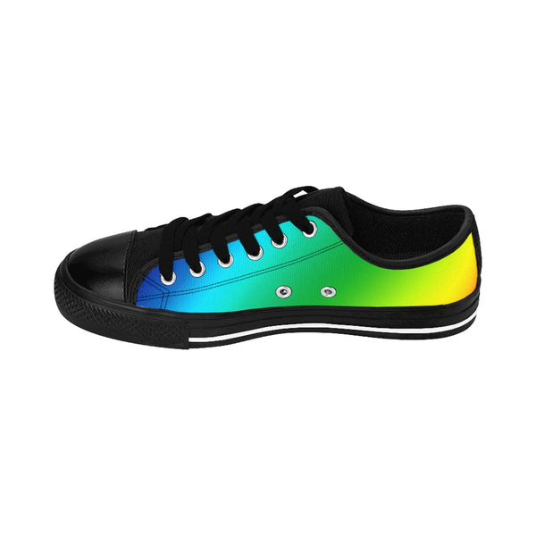 Rainbow Gay Pride Men's Sneakers, Colorful Low Top Shoes For Men-Shoes-Printify-Black-US 9-Heidi Kimura Art LLC Rainbow Gay Pride Men's Sneakers, Colorful Gay Pride Men's Low Tops, Premium Men's Nylon Canvas Tennis Fashion Sneakers Shoes (US Size: 7-14)