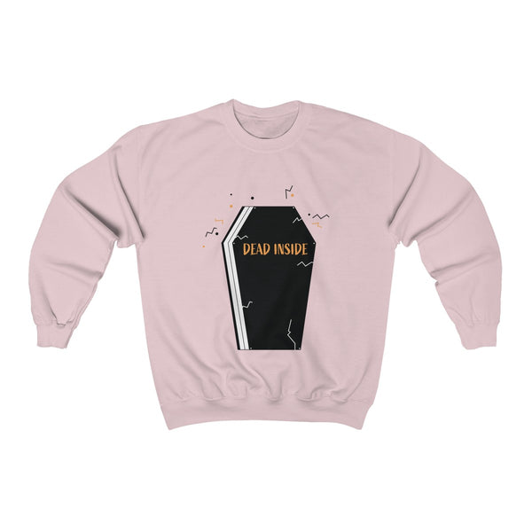 Dead Inside Coffin Halloween Party Unisex Premium Crewneck Sweatshirt-Made in USA-Long-sleeve-Light Pink-S-Heidi Kimura Art LLC