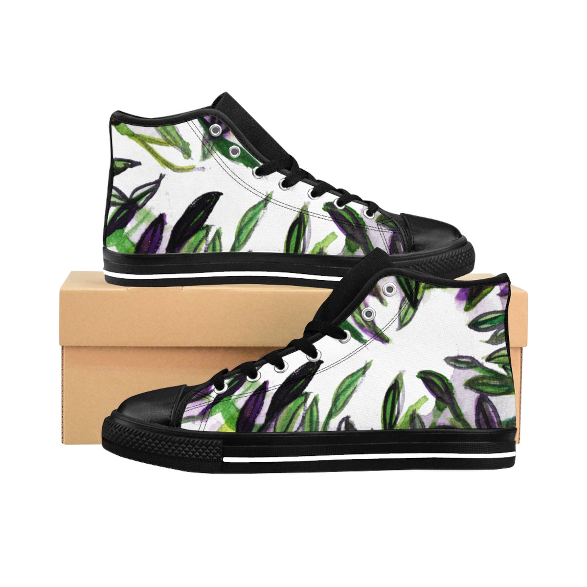 Tropical Leaves Women's High Top Designer Sneakers Running Shoes (US Size: 6-12)-Women's High Top Sneakers-US 10-Heidi Kimura Art LLC Tropical Leaves Women's Sneakers, Tropical Leaves Print Women's High Top Designer Sneakers Running Shoes (US Size: 6-12)