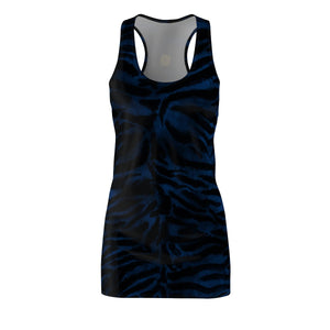Women's Navy Blue Black Fierce Tiger Stripe Animal Print Sleeveless Dress, Made in USA-Women's Sleeveless Dress-L-Heidi Kimura Art LLC