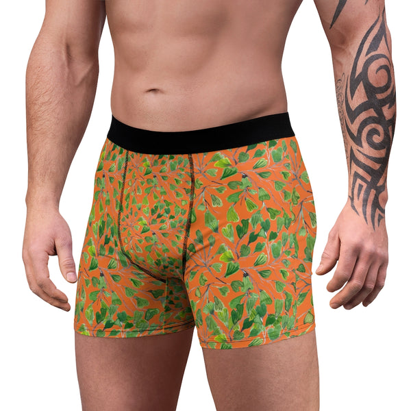 Orange Maidenhair Men's Boxer Briefs, Bright Green Tropical Fern Leaf Print Underwear For Men-All Over Prints-Printify-Heidi Kimura Art LLC Orange Maidenhair Men's Boxer Briefs, Bright Green Tropical Fern Leaf Print Premium Quality Sexy Modern Hot Men's Boxer Briefs Hipster Lightweight 2-sided Soft Fleece Lined Fit Underwear - (US Size: XS-3XL)