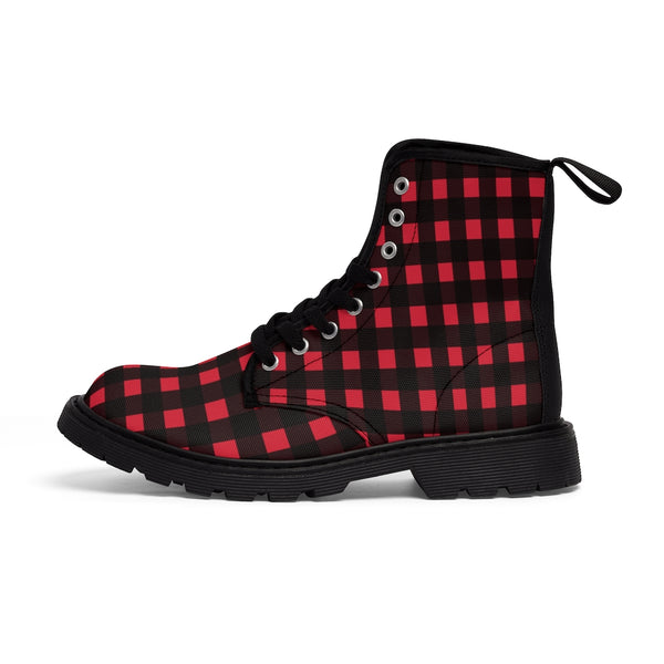 Red Buffalo Men's Boots, Best Plaid Print Hiking Winter Laced Up Shoes For Men-Shoes-Printify-Black-US 9-Heidi Kimura Art LLC Red Buffalo Men's Boots, Best Plaid Flannel Print Best Luxury Premium Quality Unique Plaid Print Designer Men's Lace-Up Winter Hiker Boots Men's Shoes (US Size: 7-10.5)