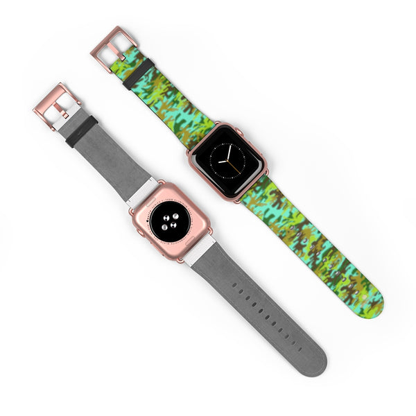 Light Blue Green Camo Print 38mm/ 42mm Watch Band For Apple Watches- Made in USA-Watch Band-Heidi Kimura Art LLC