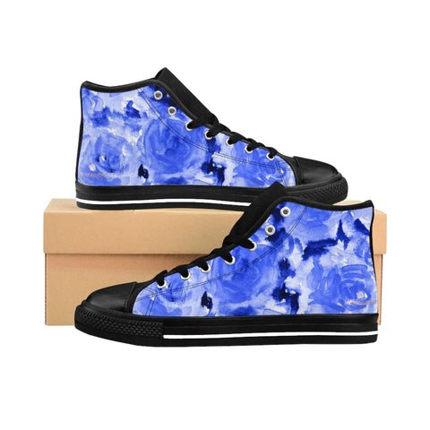Blue Abstract Men's High-top Sneakers, Rose Floral Print Designer Men's High-top Sneakers Running Tennis Shoes, Floral High Tops, Mens Floral Shoes, Hawaiian Floral Print Sneakers  (US Size: 6-14)