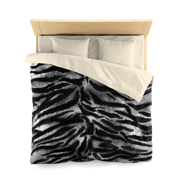 Yuna Black Gray Bengal Tiger Stripe Pattern Green Queen Size or Twin Size Microfiber Duvet Cover - Made in USA - Heidi Kimura Art LLC
