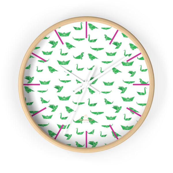 "White Green Japanese Crane Print Large Unique 10"" Diameter Wall Clocks- Made in USA-Wall Clock-10 in-Wooden-White-Heidi Kimura Art LLC"