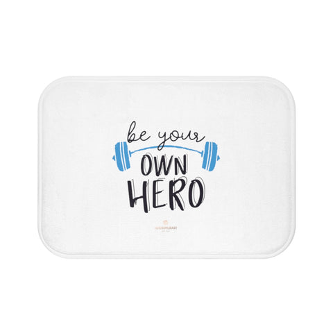 "White ""Be Your Own Hero"" Inspirational Quote Microfiber Bath Mat- Printed in USA-Bath Mat-Small 24x17-Heidi Kimura Art LLC"