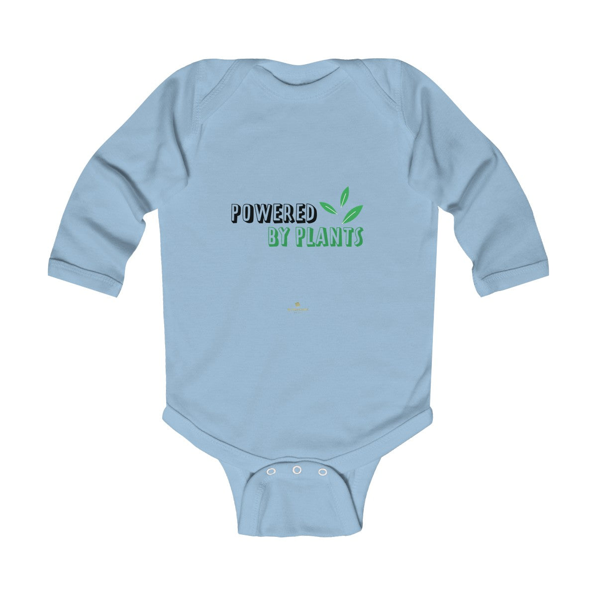 Cute Powered By Plants Vegan Baby Boy/Girls Infant Kids Long Sleeve Bodysuit - Made in USA-Infant Long Sleeve Bodysuit-Light Blue-18M-Heidi Kimura Art LLC