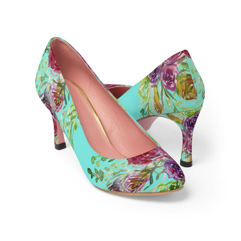 "Light Blue Bridal Rose Wedding Floral Print Women's 3"" High Heels (US Size: 5-11)-3 inch Heels-US 7-Heidi Kimura Art LLC"
