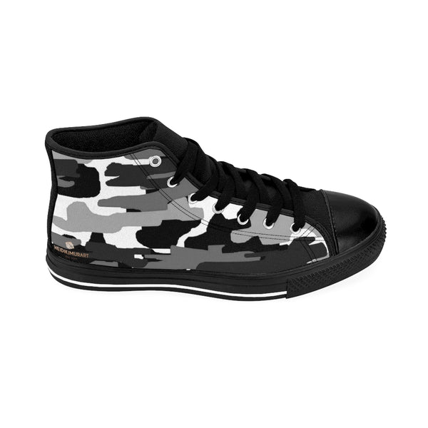 Dark Grey Camo Men's Sneakers, Grey/ Gray White Camouflage Army Military Print Designer Men's Shoes, Men's High Top Sneakers US Size 6-14, Mens High Top Casual Shoes, Unique Fashion Tennis Shoes, Camo Print Printed Sneakers Shoes (US Size: 6-14)