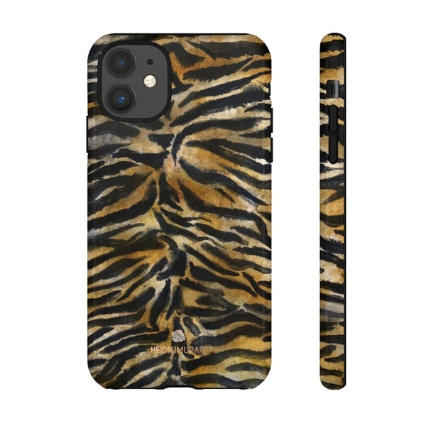 Brown Tiger Striped Tough Cases, Animal Print Best Designer Phone Case-Made in USA-Phone Case-Printify-iPhone 11-Glossy-Heidi Kimura Art LLC