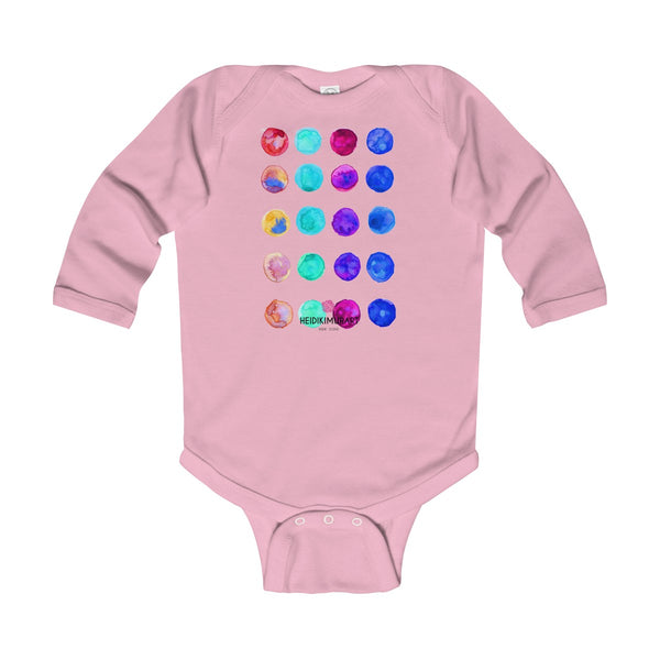 Polka Dots Printed Cute Super Soft Cotton Infant Long Sleeve Bodysuit - Made in UK-Kids clothes-Pink-12M-Heidi Kimura Art LLC