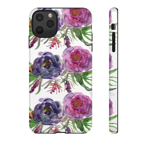 Pink Floral Print Phone Case, Roses Tough Designer Phone Case -Made in USA-Phone Case-Printify-iPhone 11 Pro Max-Glossy-Heidi Kimura Art LLC