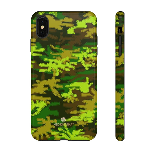 Green Camouflage Phone Case, Army Military Print Tough Designer Phone Case -Made in USA-Phone Case-Printify-iPhone XS MAX-Glossy-Heidi Kimura Art LLC