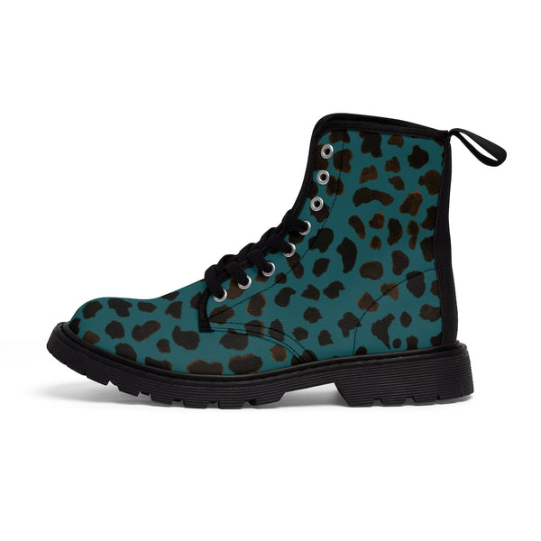 Teal Blue Cheetah Men's Boots, Best Hiking Winter Boots Laced Up Shoes For Men