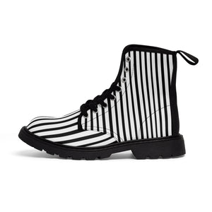Black Striped Print Men's Boots, Black White Stripes Best Hiking Winter Boots Laced Up Shoes For Men-Shoes-Printify-Black-US 7-Heidi Kimura Art LLC Black Striped Print Men's Boots, Black White Stripes Men's Canvas Hiking Winter Boots, Fashionable Modern Minimialist Best Anti Heat + Moisture Designer Comfortable Stylish Men's Winter Hiking Boots Shoes For Men (US Size: 7-10.5)