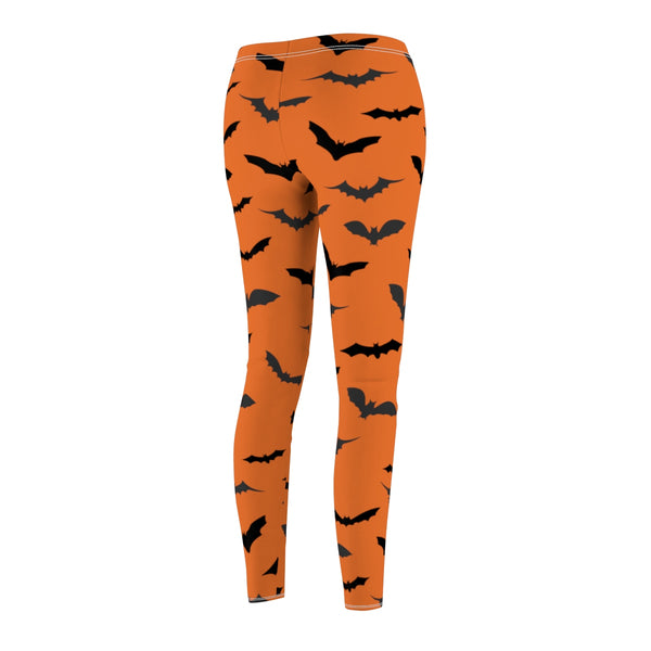 Red Orange Black Bats Women's Halloween Costume Casual Leggings- Made in USA-Casual Leggings-Heidi Kimura Art LLC