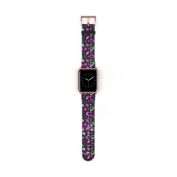 Pink Hearts Apple Watch Band, Hearts Shaped Print 38mm/42mm Watch Bands-Made in USA-Watch Band-Heidi Kimura Art LLC