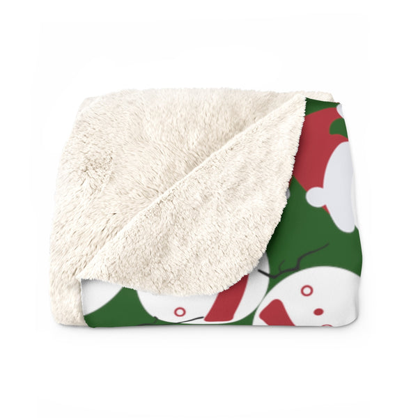 Dark Green White Red Christmas Cute Fluffy Snowman Print Cozy Sherpa Fleece Blanket-Blanket-Heidi Kimura Art LLC