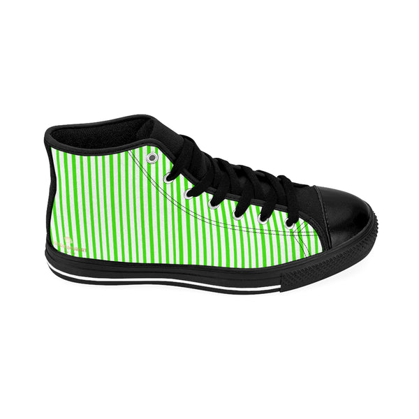 Green Striped High-top Sneakers, Vertically Green Stripes Men's Designer Tennis Running Shoes-Shoes-Printify-Heidi Kimura Art LLC Green Striped High-top Sneakers, Vertically Green Modern Stripes Men's High Tops, High Top Striped Sneakers, Striped Casual Men's High Top For Sale, Fashionable Designer Men's Fashion High Top Sneakers, Tennis Running Shoes (US Size: 6-14)