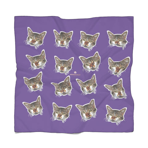 Purple Cat Print Poly Scarf, Cute Fashion Accessories For Men/Women- Made in USA-Accessories-Printify-Poly Chiffon-25 x 25 in-Heidi Kimura Art LLC