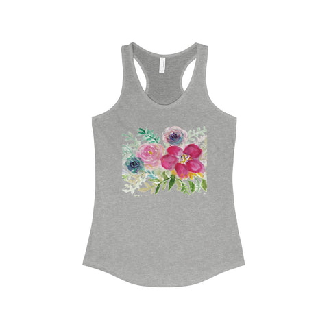 Pastel Rose Floral Print Women's Ideal Racerback Tank - Made in U.S.A. (US Size: XS-2XL)-Tank Top-90/10 Heather Gray-L-Heidi Kimura Art LLC Pastel Rose Flower Top, Pastel Rose Bouquet Floral Print Women's Ideal Racerback Tank Top - Made in U.S.A. (US Size: XS-2XL)