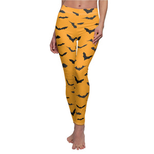 Orange Black Bats Print Women's Halloween Costume Casual Leggings-Made in USA-Casual Leggings-White Seams-M-Heidi Kimura Art LLC