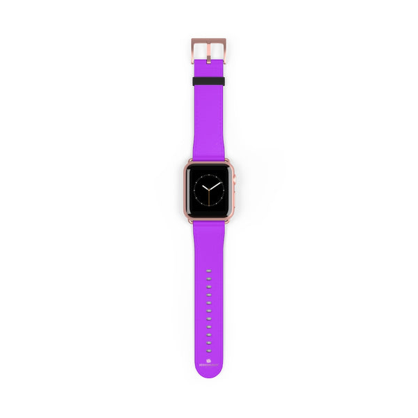 Purple Solid Color Print 38mm/42mm Watch Band For Apple Watches- Made in USA-Watch Band-38 mm-Rose Gold Matte-Heidi Kimura Art LLC
