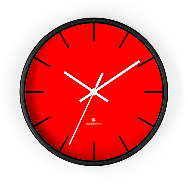 "Solid Bright Red Color Plain Modern 10"" Diameter Large Wall Clock- Made in USA-Wall Clock-10 in-Black-White-Heidi Kimura Art LLC"