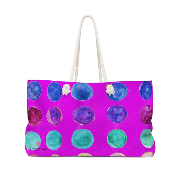 "Pink Designer Colorful Polka Dots Designer 24""x13"" Weekender Bag - Made in USA-Weekender Bag-24x13-Heidi Kimura Art LLC"