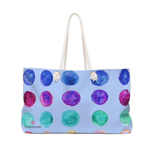 "Light Blue Designer Colorful Polka Dots Designer 24""x13"" Oversized Weekender Bag-Weekender Bag-24x13-Heidi Kimura Art LLC"