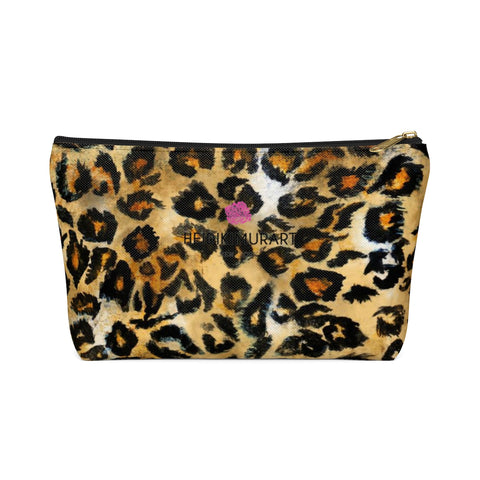 Snow Leopard Wild Cat Animal Print Designer Accessory Pouch with T-bottom-Accessory Pouch-Black-Small-Heidi Kimura Art LLC