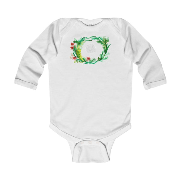 Fall Floral Print Baby's Infant Cotton Long Sleeve Bodysuit -Made in UK (UK Size: 6M-24M)-Kids clothes-White-12M-Heidi Kimura Art LLC