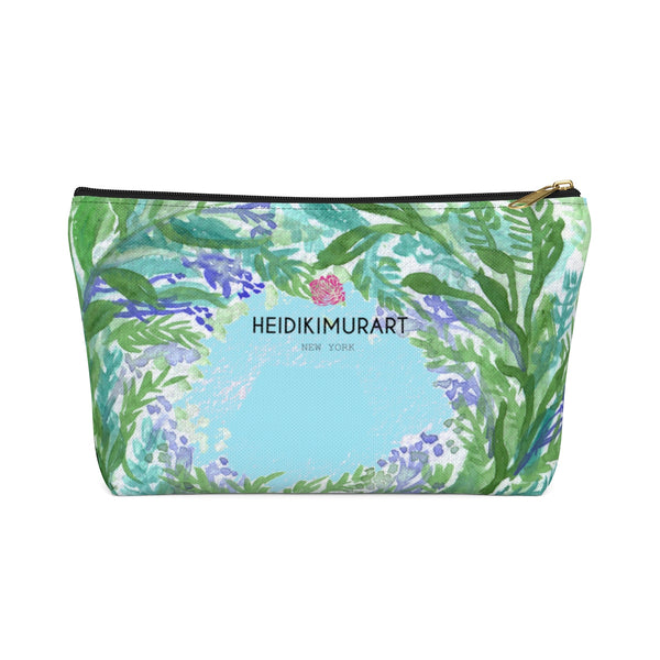 Blue Floral Print Accessory Pouch with T-bottom, French Lavender Floral Designer Makeup Bag-Accessory Pouch-Black-Large-Heidi Kimura Art LLC